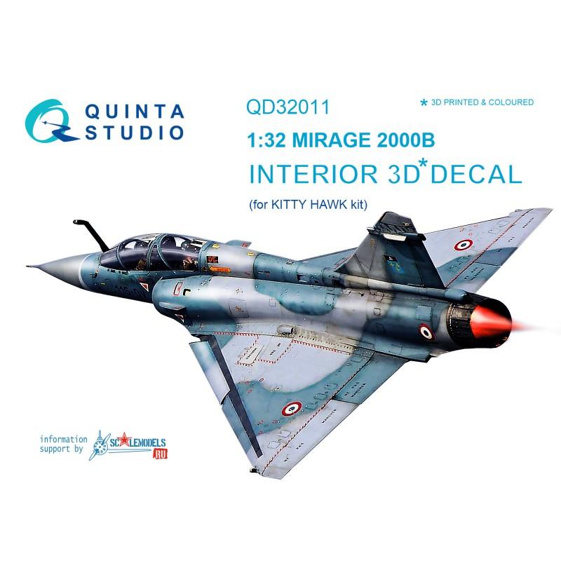 Quinta QD32011 132 Mirage 2000B 3D-Printed /& coloured interior for Kitty Hawk kit